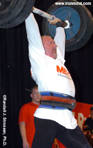 Odd Haugen uses a split jerk to lift the specially-fit IronMind® Apollon's Axle™ at the 2005 Fit Expo Strongman contest (Pasadena, California). IronMind® | Randall J. Strossen, Ph.D. photo.