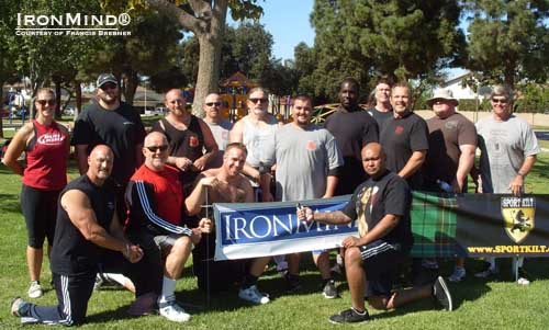Francis Brebner (first row, left) organized a seminar followed by a Strength Games competition and the 2012 Orange County Rolling Thunder Championships, plus he helped referee an official attempt to close the Captains of Crush No. 3 gripper.  IronMind® | Photo courtesy of Francis Brebner.