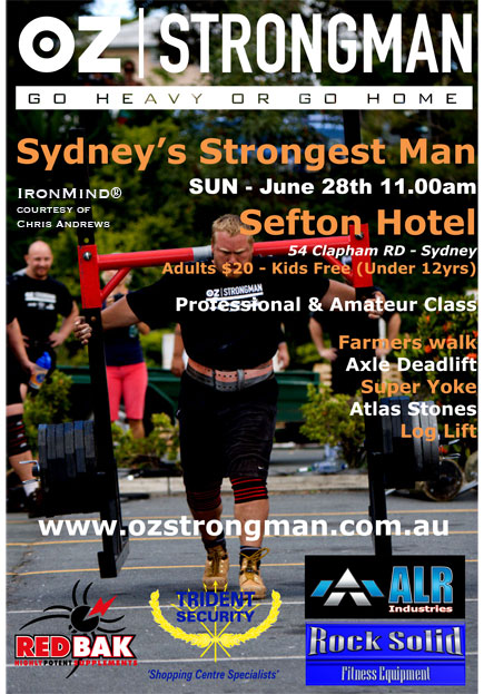 Sydney's Strongest Man contest will be held on June 28.  IronMind® | Artwork courtesy of Chris Andrews.