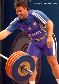 A happy camper, Dmitris Papageridis (Greece) won the +105-kg title at the Junior World Weightlifting Championships today. IronMind® | Randall J. Strossen, Ph.D. photo.