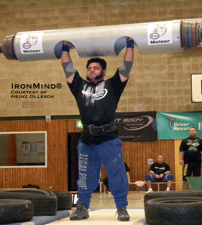 Patrik Baboumian broke the German record in the log lift this weekend at the German Log Lift Championships.  IronMind® | Photo courtesy of Heinz Ollesch.