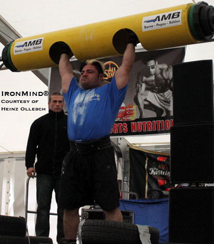 105-kg strongman competitor Patrik Babournian opened with this 155-kg in the log lift yesterday and on his second attempt, Babournian made a world record of 162.5 kg.  IronMind® | Photo courtesy of Heinz Ollesch.