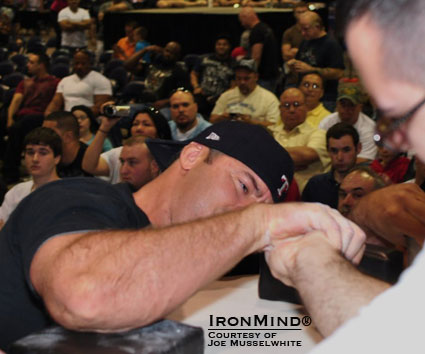 Paul Knight followed his victory in the pro class at the Ronnie Coleman Grip Challenge with such an impressive performance in the novice arm wrestling competition that he found it was a perfect way to recruit more grip strength enthusiasts.  IronMind® | Courtesy of Joe Musselwhite.