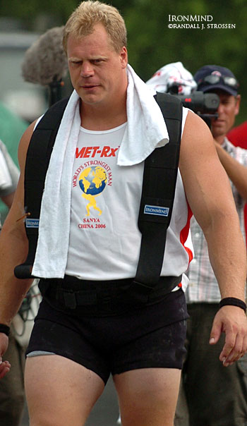 Stalking the event, hunting for the title . . . Phil Pfister is about to be called to the line for the Truck Pull at the 2006 MET-Rx World's Strongest Man contest. IronMind® | Randall J. Strossen, Ph.D. photo.