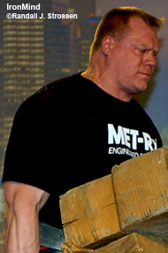 Phil Pfister, shown at the 2006 Arnold, is considered a favorite for a top place at this year's MET-Rx World's Strongest Man contest, and this weekend he has a chance to qualify for that premier strongman contest. IronMind® | Randall J. Strossen, Ph.D. photo.