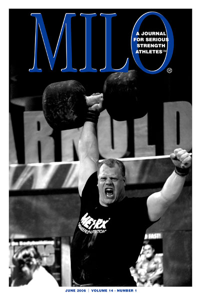 The moment it happened: When Phil Pfister blew the doors off the Circus Dumbbell at the 2006 Arnold strongman contest, MILO® publisher Randall Strossen knew that what he had just seen was even more than a really big guy pressing a huge dumbbell at the world's largest multi-sport and fitness expo - what had just happened, Strossen would later explain, was that Phil Pfister had demonstrated that he had what it took to win the event that is the crown jewel of the strongman world, the World's Strongest Man contest. Six months later, Pfister made Strossen look smart, because that's just what he did, the first American to pull this off since the strongman icon Bill Kazmaier. IronMind® | Randall J. Strossen photo.