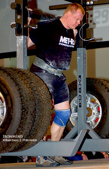 Phil Pfister takes a walk on the heavy side at the 2006 Arnold Strongman contest. Pfister, who won the 2006 World's Strongest Man contest, is planning a major drug-tested strongman contest in 2008. Randall J. Strossen, Ph.D. photo.