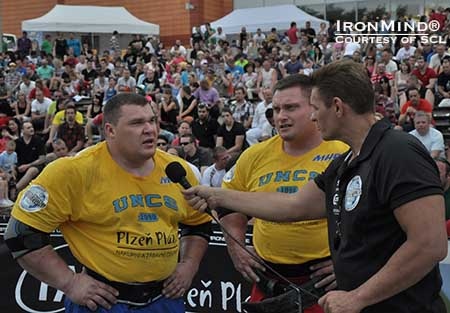 Vytautas Lalas (left) is on a hot streak in strongman, but Krzysztof Radzikowski (center) defeated Lalas and all other comers at the MHP Strongman Champions League contest in Czech this last weekend, taking the title as well as the overall series lead.  IronMind® | Photo courtesy of SCL.