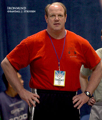 Rege Becker, shown in the warm-up room at the 2007 USA Weightlifting National Championships, is inviting lifters, coaches, officials and fans to the 2008 Pittsburgh Open Weightlifting Championships on January 27. IronMind® | Randall J. Strossen, Ph.D. photo.