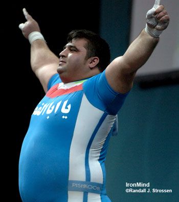 From the applause, you would have thought he did at least 210/260, but no matter, Hossein Rezazadeh won the gold medal at the Asian Games today - electrifying his Iranian fans who packed the competition hall. IronMind® | Randall J. Strossen, Ph.D. photo.