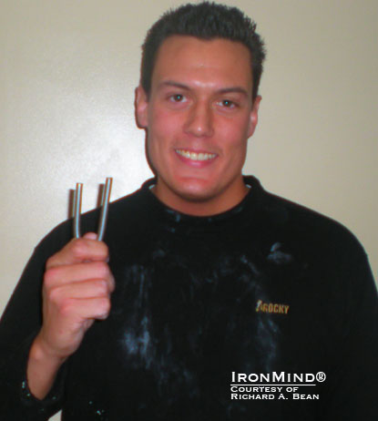 """I prefer to utilize a 'Double Overhand' style to bend as I feel the most comfortable and strongest in this style,"" Richard Bean told IronMind.  Bean has just been certified on the IronMind Red Nail.  IronMind® 