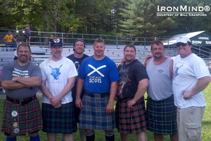 Left to right: Bill Crawford, Dave Barron, Mike Zolkiewicz (world record holder in 56-lb. weight for height), Mike Pockoski, Ron Hamelin, Kerney Smith, Sam Grammer (Rhode Island Highland Games Athletic Director).