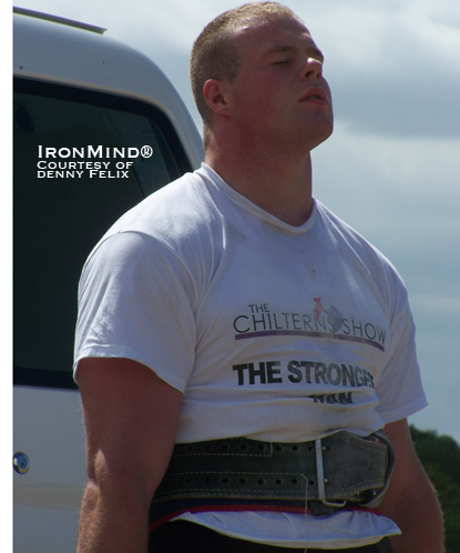 Jack McIntosh on the deadlift at the Chiltern's Strongest Man contest.  With Mark Felix as the referee, that probably helped to inspire even better performances.  IronMind® | Photo courtesy of Denny Felix.