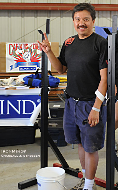 Rodil San Mateo won the drawing for a set of IronMind® Vulcan Racks™ at the 2008 CrossFit Games yesterday. IronMind® | Randall J. Strossen photo.