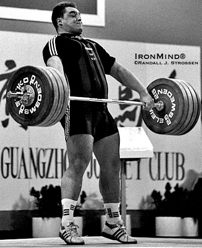 Germany's Ronny Weller was a tremendous weightlifter - shown finishing the pull on his 197.5-kg gold medal snatch at the 1995 World Weightlifting Championships.  IronMind® | Randall J. Strossen photo.