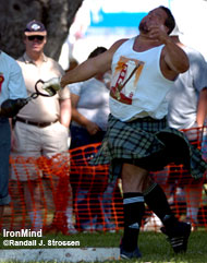 It came down to the 28-pound weight for distance, as Ryan Vierra and Dave Barron were tied going into this . . . the final event of the 2006 Heavy Events World Championships. IronMind® | Randall J. Strossen, Ph.D. photo.