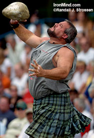 Ryan Vierra added another Highland Games World Championships title to his collection in 2005. Come to California in September and watch Ryan defend his crown. IronMind® | Randall J. Strossen, Ph.D. photo.