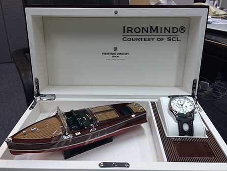 This commemorative watch is part of the prize package on the second day of competition at the second day of competition in Brazil.  IronMind® | Image courtesy of SCL