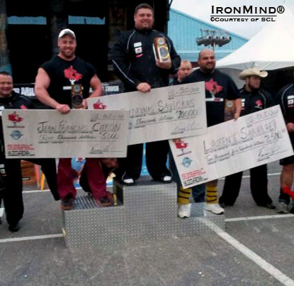 Here's the podium for the inaugural SCL–Canada strongman contest, which served as the semi-finals in the 2011 Strongman Champions League season.  Zydrunas Savickas' prize package included $10,000 cash.  IronMind® | Courtesy of SCL.