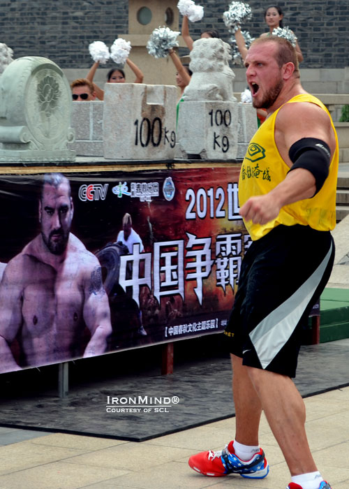 Travis Ortmayer celebrates winning the Loading event.  IronMind® | Courtesy of SCL.