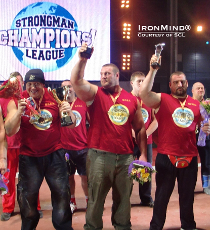 Terry Hollands (center) won the overall 2010 Strongman Champions League title.  Misha Koklyaev (left) was third and Ervin Katona (right) was second.  IronMind® | Photo courtesy of SCL.