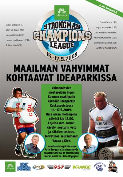 Finland, with its tradition of holding top strongman contests, is ready to host the Strongman Champions League in Ideapark on May 16 - 17. IronMind® | Artwork courtesy of Ilkka Kinnunen/Strongman Champions League.