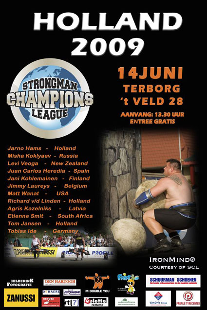 Strongman Champions League is coming to Terborg, Holland this next weekend.  IronMind® | Artwork courtesy of Strongman Champions League (SCL).