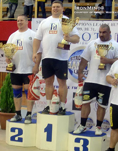 Here's the podium at Strongman Champions League-Hungary.  (left to right) Andrus Murumets, third place, Zydrunas Savickas, first place, and Ervin Katona (third place).  IronMind® | Marcel Mostert photo.