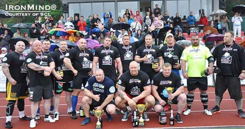 Here's the field at the 2013 MHP Strongman Champions League–Latvia competition.  Hafthor Julius Bjornsson (Iceland) won, and two new strongman stars emerged:  Dainis Zageris (Latvia) and Meelis Peelis (Estonia).  IronMind® | Photo courtesy of SCL.
