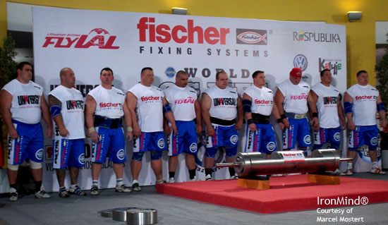 The Strongman Champions League gave strongman a new twist this past weekend with the live broadcast of its World Log Lift Championships. Here's the lineup of competitors. IronMind® | Photo courtesy of Marcel Mostert.