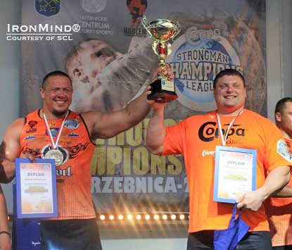 Misha Koklyaev (left) and Zydrunas Savickas (right) shared top honors at SCL–Poland.  IronMind® | Photo courtesy of SCL.