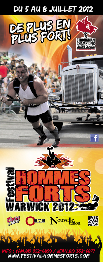 July 5–8, Strongman Champions League Canada returns with a 10-event strongman competition in Warwick, Quebec.  IronMind® | Artwork courtesy of SCL Canada.