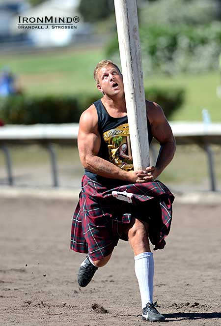 A few days before competing in the Royal Braemar Highland Games, Scott Rider was in Pleasanton, California for the 2013 US Invitational Heavy Events Championships—where he finished a strong third place overall.  IronMind® | Randall J. Strossen photo