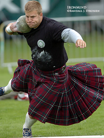 Scott Rider on his way to winning the 16-pound stone at the 2007 Highland Games World Championships (Inverness, Scotland). IronMind® | Randall J. Strossen, Ph.D. photo. The Londoner just added to his considerable laurels with a historic win at Braemar this weekend.
