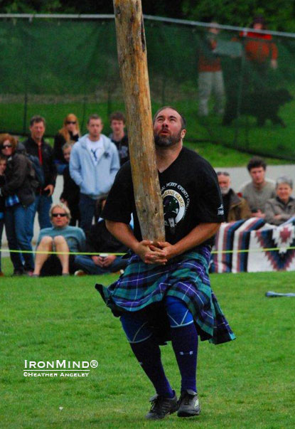 Sean Betz didn't win the caber, but he won just about everything else, including the overall title, at the 146th Victoria Highland Games.  IronMind® | Heather Ancelet photo.