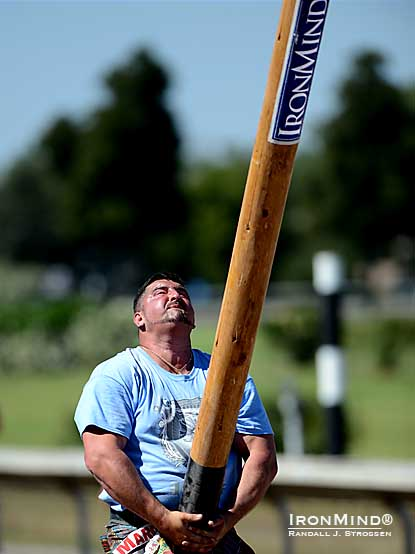 Sebastian Wenta (Poland) was second in the individual competition, second (along with his brother, Lucas) in the team competition, but he reigned supreme in the caber.  Even the mighty former World's Strongest Man competitor could not turn the big IronMind caber, so a smaller stick was brought in for rounds two and three.  If it was beyond the 2012 IHGF World Caber Champion, who will be the first man to turn the big IronMind caber?  IronMind® | Randall J. Strossen photo.