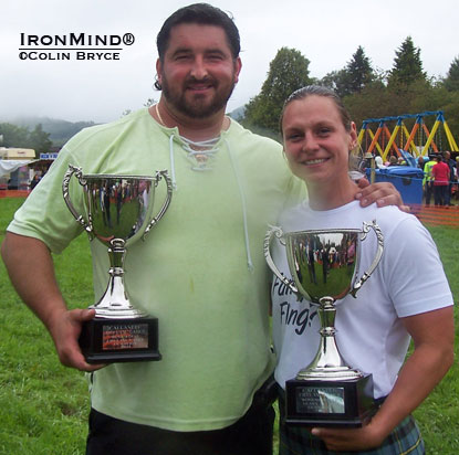 The top highlanders in the world: Poland's Sebastian Wenta (left) and USA's Adriane Blewitt.  IronMind® | Colin Bryce photo.