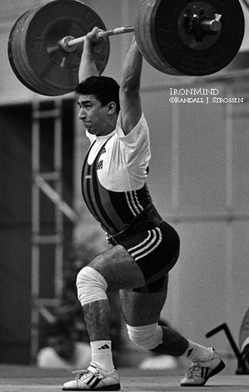 "Shahin Nasirinia hit this 215 kg clean and jerk to wrest the 85-kg title from Pyrros Dimas at the 1999 World Weightlifting Championships (Athens). We later called it, ""The upset of the contest."" IronMind® 