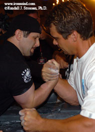 It takes a lot of table time to develop the kind of arm-wrestling skills displayed by Simon Berriochoa (left) and Bill Brzenk (right), shown pulling at the 2005 Crystal Bay tournament, but it should go without saying that grip strength and arm wrestling go together like ham and eggs. IronMind® | Randall J. Strossen, Ph.D. photo.