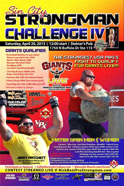 A sure thing in Las Vegas: Sin City IV gives the right guys a way to get invited to Giants Live, the official qualifying tour for the World's Strongest Man contest.  IronMind® | Artwork courtesy of Callie Best.