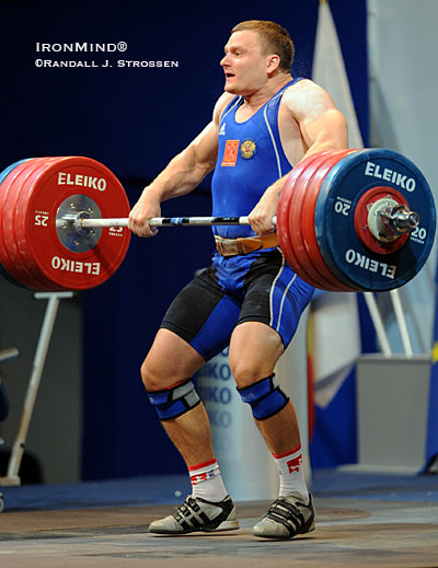Vladimir Smorchkov pulls himself under this 221-kg clean and jerk in the 105-kg class at the European Weightlifting Championships. IronMind® | Randall J. Strossen photo.