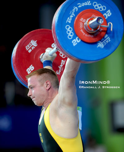 94-kg weightlifter Juergen Spiess (Germany) opened with this successful 170-kg snatch at the 2008 Olympics. IronMind® | Randall J. Strossen photo.