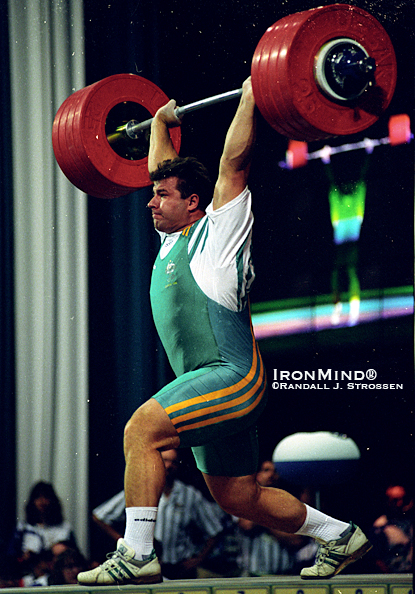At the 1996 Olympics, Stefan Botev opened with this 240-kg clean and jerk.  The run-up to the Olympics began at the 1995 World Weightlifting Championships, where Botev cleaned and jerked 245 kg on his third attempt, and now you can see that lift in the IronMind® Big Lift Series on YouTube.  IronMind® | Randall J. Strossen photo.