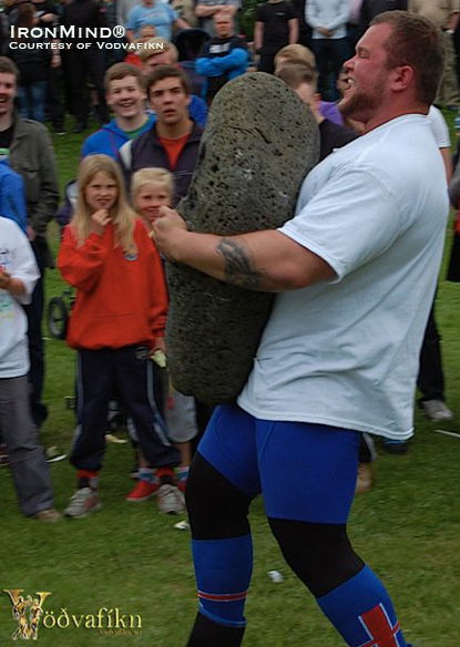Stefán Sölvi Petursson on the Stone Carry on his way to winning the 2010 Iceland's Strongest Man contest.  IronMind® | Photo courtesy of Vodvafikn.