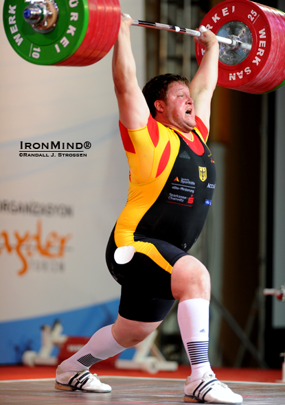 Antalya has something of a good history for Matthias Steiner, as he made this 246-kg gold medal lift in the clean and jerk at the 2010 World Weightlifting Championships (Antalya, Turkey).  IronMind® | Randall J. Strossen photo.
