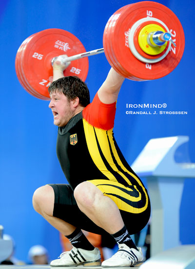 "Matthias Steiner (Germany) caught IronMind®'s eye at the Olympic test event in January when he snatched this 193 kg, and cleaned and jerked 230 kg. Two and a half months later, at the European Weightlifting Championships, Steiner did 200/246, at which point IronMind®'s Strossen began saying Steiner was the guy to watch in the supers at the upcoming Olympics. This past weekend, going six-for-six, Matthias Steiner finished with 201/250, and all we can say now is, ""Go Matthias!"" IronMind® 