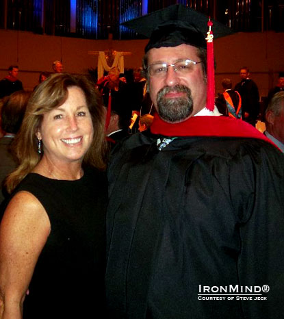 Steve and Cathy Jeck at the Knox Theological Seminary graduation ceremony, held at the Coral Ridge Presbyterian church in Ft. Lauderdale, Florida.  IronMind | Photo courtesy of Steve Jeck.