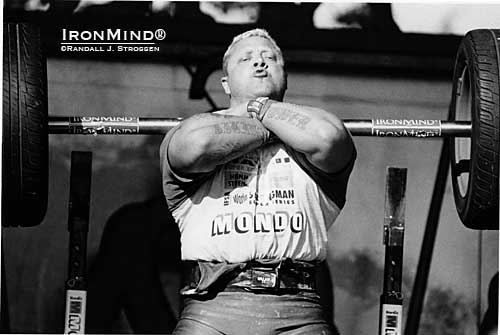 Strongman history: It was the 2002 IFSA Super Series Finals in Hawaii and 2001 World's Strongest Man winner Svend Karlsen was one of three competitors to front squat the winning three reps with 500 lb. on an IronMind Apollon's Axle (the other two were Mariusz Pudzianowski and Zydrunas Savickas).  IronMind® | Randall J. Strossen photo.