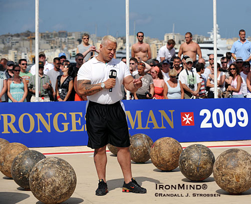 On the set of the 2009 World's Strongest Man (WSM) contest, Svend Karlsen wields a mighty microphone - doing background for the Norwegian broadcast of WSM '09.  IronMind® | Randall J. Strossen photo.