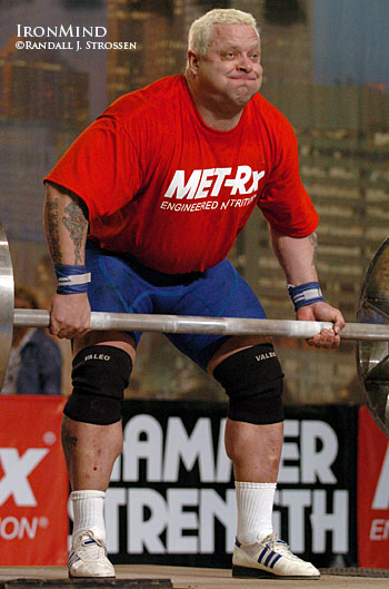 "Svend ""Viking"" Karlsen attacks the axle at the 2004 Arnold strongman contest. His kidneys have failed, but Viking sounds great, said he feels well, and he already has three donors lined up, offering him a kidney. IronMind® 